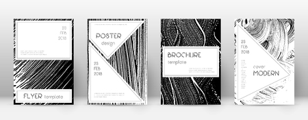 Cover page design template. Stylish brochure layout. Creative trendy abstract cover page. Black and white grunge texture background. Original poster.