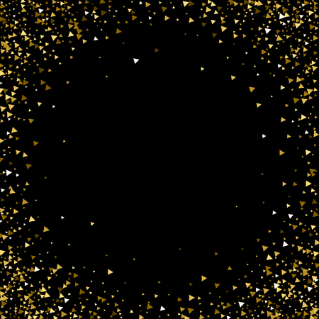 Gold triangles luxury sparkling confetti. Scattered small gold particles on black background. Artistic festive overlay template. Excellent vector illustration.