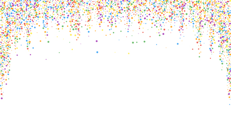 Festive confetti. Celebration stars. Rainbow confetti on white background. Dazzling festive overlay template. Worthy vector illustration.