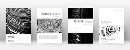 Cover page design template. Minimalistic brochure layout. Classic trendy abstract cover page. Black and white grunge texture background. Original poster. 向量圖像