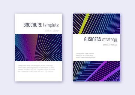 Minimalistic cover design template set. Rainbow abstract lines on dark blue background. Energetic cover design. Bold catalog, poster, book template etc. Vektoros illusztráció