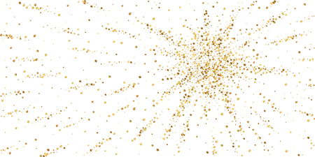 Gold confetti luxury sparkling confetti. Scattered small gold particles on white background. Authentic festive overlay template. Captivating vector illustration.