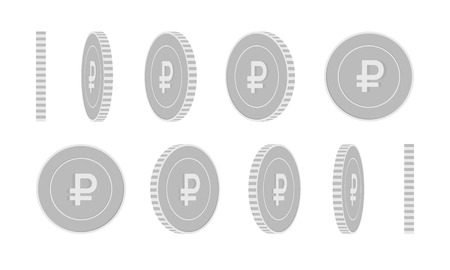 Russian ruble rotating coins set, animation ready. Black and white RUB silver coins rotation. Russia metal money. Posh cartoon vector illustration.