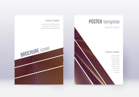 Geometric cover design template set. Gold abstract lines on maroon background. Bold cover design. Sublime catalog, poster, book template etc.