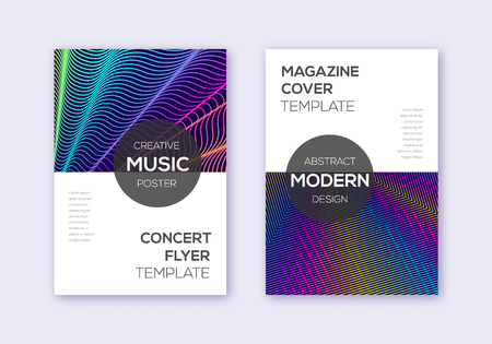 Modern cover design template set. Rainbow abstract lines on dark blue background. Exotic cover design. Splendid catalog, poster, book template etc.