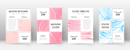 Cover page design template. Business brochure layout. Bewitching trendy abstract cover page. Pink and blue grunge texture background. Ideal poster.