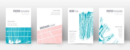 Cover page design template. Geometric brochure layout. Breathtaking trendy abstract cover page. Pink and blue grunge texture background. Amusing poster.  イラスト・ベクター素材