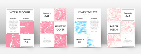 Cover page design template. Business brochure layout. Bizarre trendy abstract cover page. Pink and blue grunge texture background. Bewitching poster.