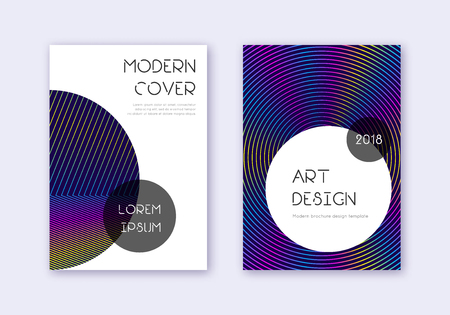 Trendy cover design template set. Rainbow abstract lines on dark blue background. Graceful cover design. Worthy catalog, poster, book template etc.