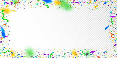 Streamers and confetti. Festive tinsel and foil ribbons. Confetti frame on white transparent background. Bewitching paty overlay template. Valuable celebration concept.