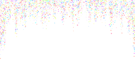 Festive confetti. Celebration stars. Colorful stars on white background. Dazzling festive overlay template. Bewitching vector illustration.