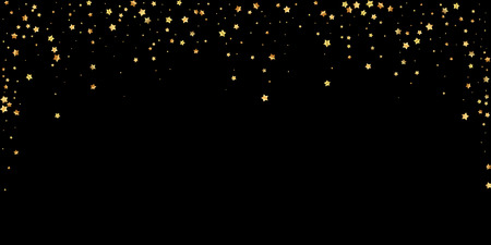 Gold stars random luxury sparkling confetti. Scattered small gold particles on black background. Awesome festive overlay template. Tempting vector illustration.