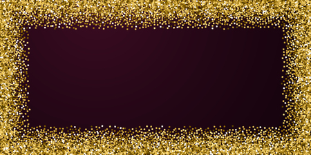 Gold glitter luxury sparkling confetti. Scattered small gold particles on red maroon background. Bold festive overlay template. Amazing vector illustration.