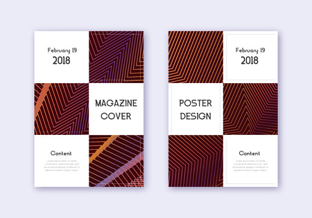 Business cover design template set. Orange abstract lines on wine red background. Awesome cover design. Ecstatic catalog, poster, book template etc.