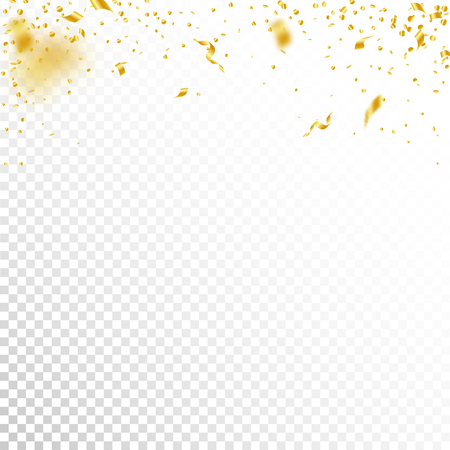 Streamers and confetti. Gold tinsel and foil ribbons. Confetti gradient on white transparent background. Beauteous paty overlay template. Ravishing celebration concept.