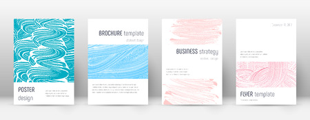 Cover page design template. Minimalistic brochure layout. Classic trendy abstract cover page. Pink and blue grunge texture background. Shapely poster. Illusztráció