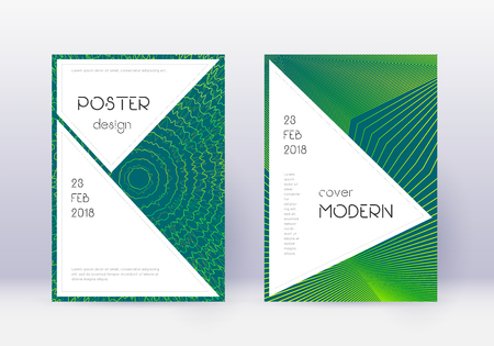 Stylish cover design template set. Green abstract lines on dark background. Fancy cover design. Favorable catalog, poster, book template etc.