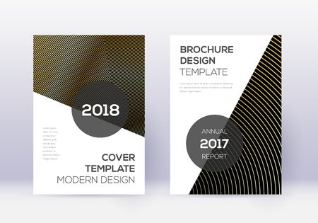 Modern cover design template set. Gold abstract lines on black background. Extra cover design. Dramatic catalog, poster, book template etc.