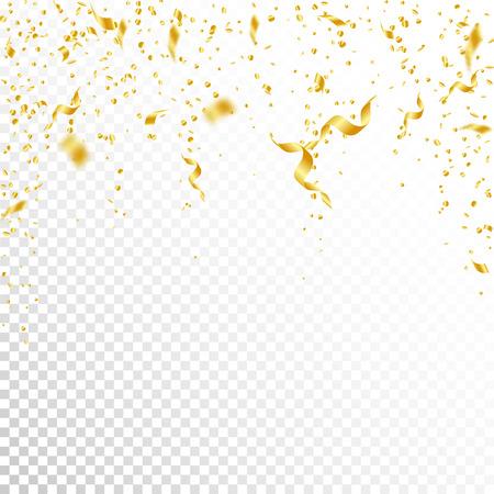Serpentinas y confeti. Oropel y cintas de papel de aluminio. Confeti cayendo lluvia sobre fondo blanco transparente. Impresionante plantilla de superposición de paty. Concepto de celebración digno de mención.