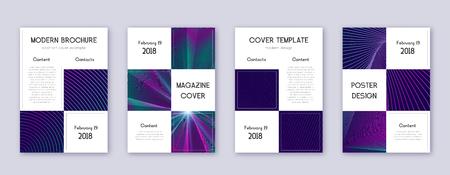Business brochure design template set. Neon abstract lines on dark blue background. Adorable brochure design. Extraordinary catalog, poster, book template etc.