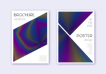 Triangle cover design template set. Rainbow abstract lines on dark blue background. Imaginative cover design. Exceptional catalog, poster, book template etc. 일러스트