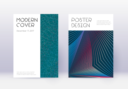 Minimal cover design template set. Red abstract lines on white blue background. Decent cover design. Nice catalog, poster, book template etc. Illustration