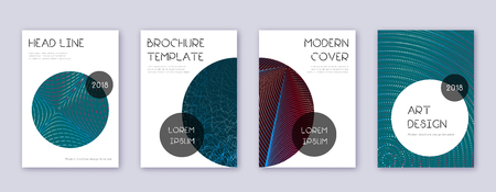 Trendy brochure design template set. Red abstract lines on white blue background. Bold brochure design. Alluring catalog, poster, book template etc.