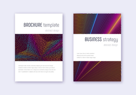 Minimalistic cover design template set. Rainbow abstract lines on wine red background. Energetic cover design. Magnificent catalog, poster, book template etc.