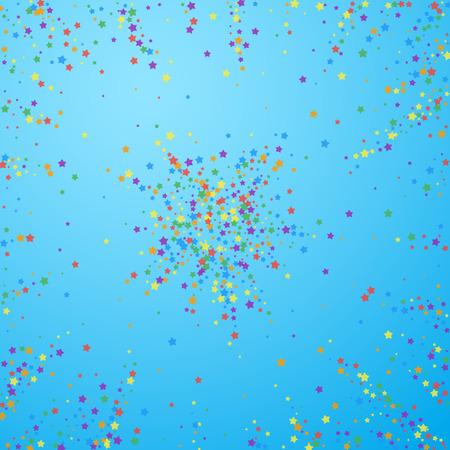 Festive confetti. Celebration stars. Rainbow bright stars on blue sky background. Brilliant festive overlay template. Eminent vector illustration.