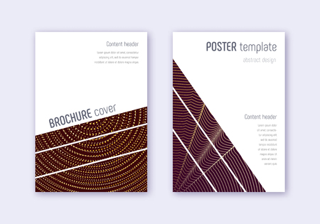 Geometric cover design template set. Gold abstract lines on maroon background. Breathtaking cover design. Amusing catalog, poster, book template etc.