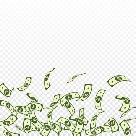 Indian rupee notes falling. Floating INR bills on transparent background. India money. Captivating vector illustration. Optimal jackpot, wealth or success concept.