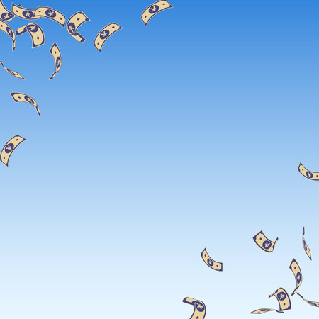 Chinese yuan notes falling. Sparse CNY bills on blue sky background. China money. Ecstatic vector illustration. Extra jackpot, wealth or success concept.