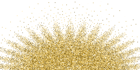 I triangoli d'oro brillano coriandoli scintillanti di lusso. Piccole particelle d'oro sparse su sfondo bianco. Autentico modello di sovrapposizione festivo. Illustrazione vettoriale popolare.