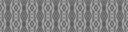 Dark black and white Seamless Border Scroll. Geometric Watercolor Frame. Amazing Seamless Pattern. Medallion Repeated Tile. Alluring Chevron Ribbon Ornament.