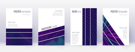 Geometric brochure design template set. Neon abstract lines on dark blue background. Alluring brochure design. Dazzling catalog, poster, book template etc.