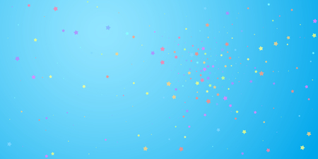 Festive confetti. Celebration stars. Colorful stars random on blue sky background. Curious festive overlay template. Sublime vector illustration.