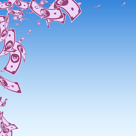 European Union Euro notes falling. Messy EUR bills on blue sky background. Europe money. Amazing vector illustration. Appealing jackpot, wealth or success concept.