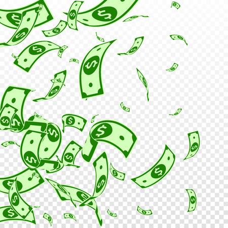 American dollar notes falling. Random USD bills on transparent background. USA money. Comely vector illustration. Original jackpot, wealth or success concept.