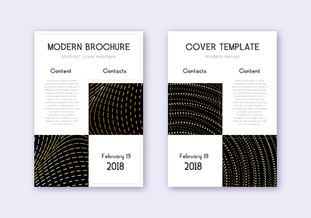 Business cover design template set. Gold abstract lines on black background. Amusing cover design. Worthy catalog, poster, book template etc.