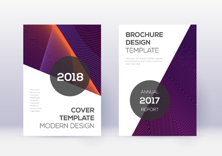 Modern cover design template set. Violet abstract lines on dark background. Fair cover design. Alluring catalog, poster, book template etc.