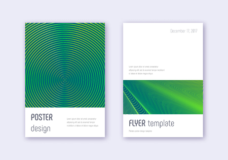 Minimalistic cover design template set. Green abstract lines on dark background. Ecstatic cover design. Powerful catalog, poster, book template etc.