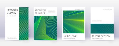 Minimal brochure design template set. Green abstract lines on dark background. Appealing brochure design. Memorable catalog, poster, book template etc. Vector Illustratie