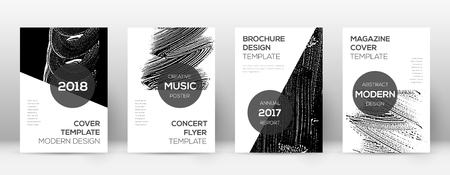 Cover page design template. Modern brochure layout. Comely trendy abstract cover page. Black and white grunge texture background. Impressive poster. 일러스트