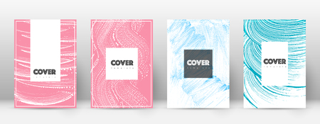 Cover page design template. Hipster brochure layout. Breathtaking trendy abstract cover page. Pink and blue grunge texture background. Uncommon poster.  イラスト・ベクター素材