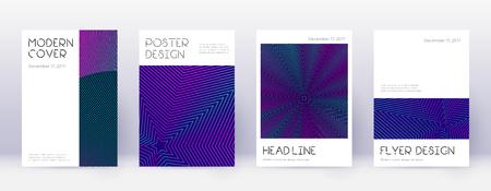 Minimal brochure design template set. Neon abstract lines on dark blue background. Appealing brochure design. Pleasing catalog, poster, book template etc.