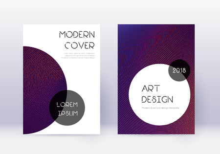 Trendy cover design template set. Violet abstract lines on dark background. Grand cover design. Surprising catalog, poster, book template etc.