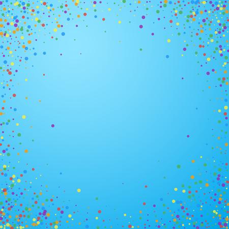 Festive confetti. Celebration stars. Rainbow confetti on blue sky background. Cool festive overlay template. Pretty vector illustration.