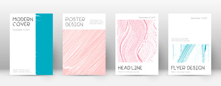 Cover page design template. Minimal brochure layout. Charming trendy abstract cover page. Pink and blue grunge texture background. Ideal poster. Foto de archivo - 123241295