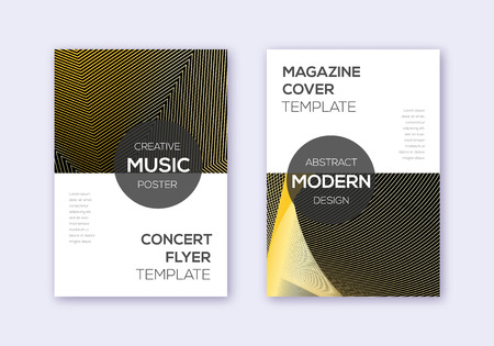 Modern cover design template set. Gold abstract lines on black background. Excellent cover design. Pretty catalog, poster, book template etc. Foto de archivo - 123241299