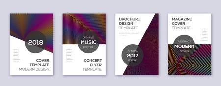 Modern brochure design template set. Rainbow abstract lines on wine red background. Beauteous brochure design. Energetic catalog, poster, book template etc. Foto de archivo - 123241303